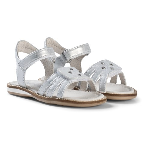 Noël Silver Embroidered and Diamante Leather Velcro Siri Sandals