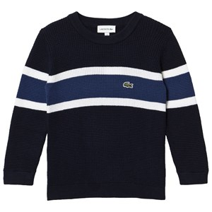 Lacoste Navy White Stripe Small Logo Sweater 4 years