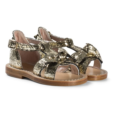 Chloé Gold Wide Bow Leather Sandals