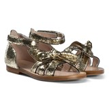 Chloé Gold Wide Bow Sandals