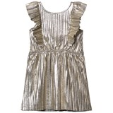 Carrément Beau Gold Lurex Frill Front Party Dress