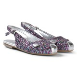 Little Marc Jacobs Silver Glitter Slingback Pumps