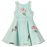 David Charles Mint Mesh Embroidered Dress