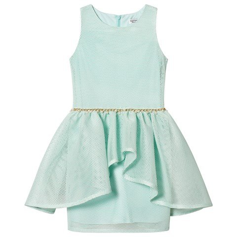 David Charles Mint Mesh Dress with Peal Waist Detail