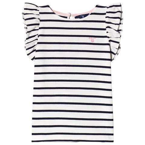 Gant White and Navy Frill Side T-Shirt