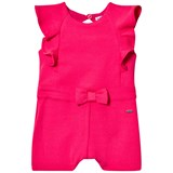 Mayoral Pink Textured Playsuit with Ruffle and Bow Detail