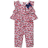 Mayoral Navy and Red Flower Print Jumpsuit with Ruffle and Bow Detail