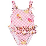 Mayoral Pink Gingham Ice Cream Print Ruffle Swimsuit
