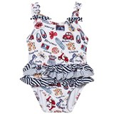 Mayoral Navy and White Print Ruffle Swimsuit