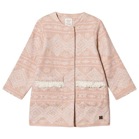 Carrément Beau Pale Pink and Gold Lurex Embroidered Coat