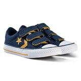 Converse Navy and Yellow Star Player EV 3V OX Junior Trainers