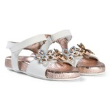 Michael Kors White and Rose Gold Flower Applique Marsha Way-T Sandals