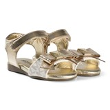 Michael Kors Gold Metallic Branded Bow Zia Demi Din-T Sandals
