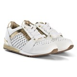 Michael Kors White and Gold Perforated Zia Allie Say Laced Trainers