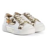 Michael Kors White and Gold Heart Zia Guard Zone Lace Trainers