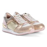 Michael Kors Pink and Gold Branded Zia Allie Say-T Trainers