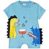 Paul Smith Junior Light Blue Dinosaur Musicians Print Romper