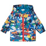 Paul Smith Junior Blue Multi Animal Print Hooded Windbreaker Jacket