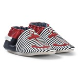 Robeez Navy Red and White Stripe and Anchor Leather Crib Shoes