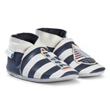 Robeez Navy and White Striped Leather with Lighthouse and Boat Crib Shoes