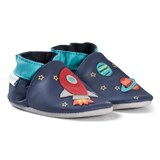 Robeez Navy Rocket and Planet Leather Crib Shoes