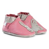 Robeez Pink Spot and Butterfly Leather Crib Shoes