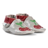 Robeez Silver and Red Happy Cherry Leather Crib Shoes