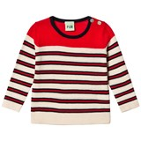 FUB Ecru, Navy and Red Baby Double Striped Blouse