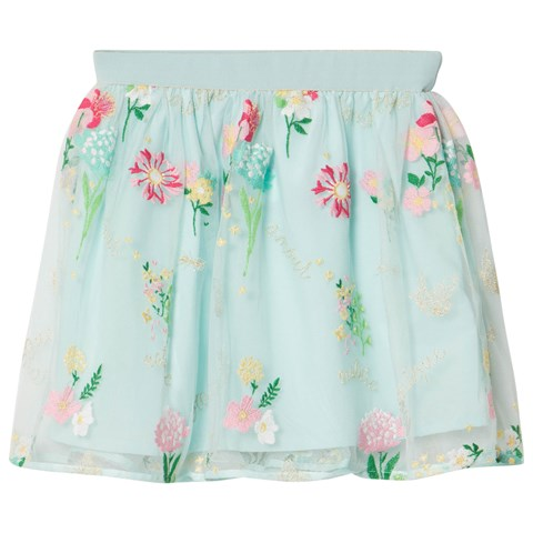 Mayoral Aqua Embroidered Flower Tulle Skirt