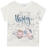 Mayoral White Diamante Moped Print Tee