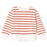 Tinycottons Off White and Carmine Small Stripes Sweatshirt
