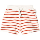 Tinycottons Off-White and Carmine Small Stripes Shorts