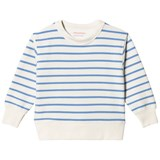 Tinycottons Off-White and Cerulean Blue Small Stripes Sweatshirt