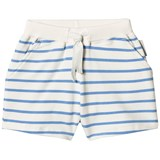 Tinycottons Off-White and Cerulean Blue Small Stripes Shorts