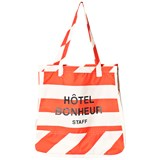 Tinycottons Off-White and Carmine Stripes Tote Bag