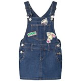 Kenzo Kids Indigo Dungaree Dress with Badges and Embroidered Branding