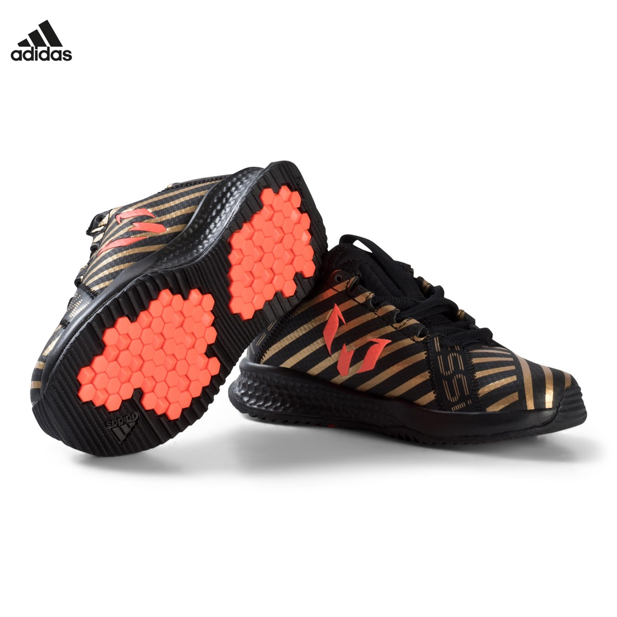 new concept 664cd 17619 adidas Performance Black, Gold and Red RapidaTurf Messi Trainers    AlexandAlexa