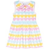 Rachel Riley Pink, Blue and Yellow Heart Jersey Dress