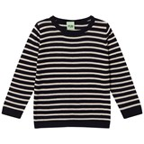 FUB Navy and Ecru Knit Top