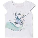 Guess White Mermaid Print Tee with Lace Ruffle Back