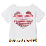 Guess White Heart Embroidered Tassel Tee