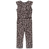 IKKS Pink and Black Floral Frill Jumpsuit
