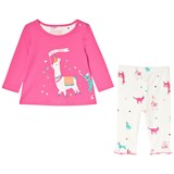 Joules Pink and Cream Llama Applique Long Sleeve T-Shirt Printed Leggings Set