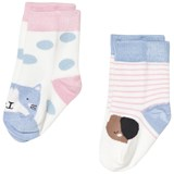 Joules Cream Stripe Cat and Dog Socks Set