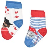 Joules Blue and Red Dog Pirate Socks Set