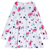 Joules Pink Floral and Blue Stripe Long Sleeve Jersey Trapeze Dress