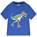 Joules Blue Skating Dinosaur Glow In The Dark Jersey T-Shirt