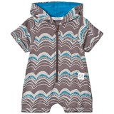 Indikidual Brown and Grey Graduated Wave Print Hooded Romper