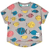 Indikidual Grey Short Sleeve Multi Coloured Fishes Print T-Shirt