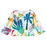 Catimini White Tropical Floral Padded Jersey Jacket